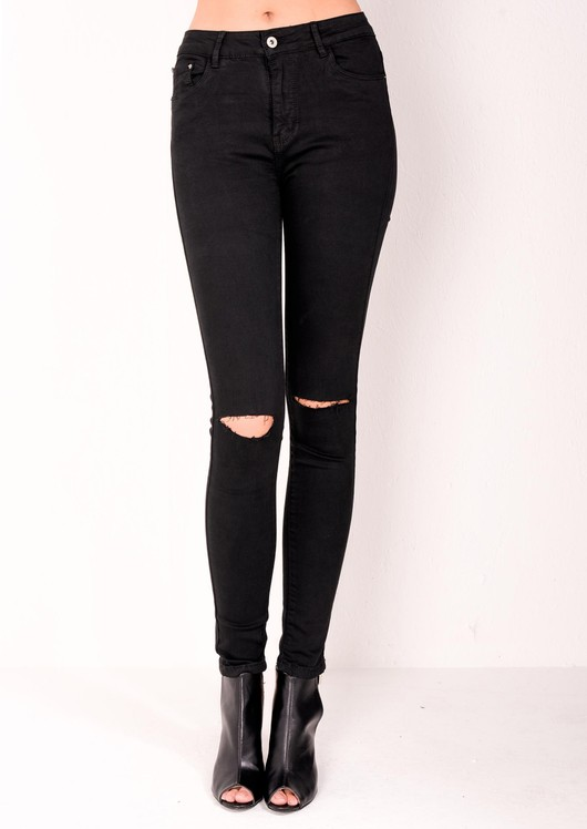 beb22fbfaf3 High Waisted Ripped Knee Classic Skinny Jeans Black
