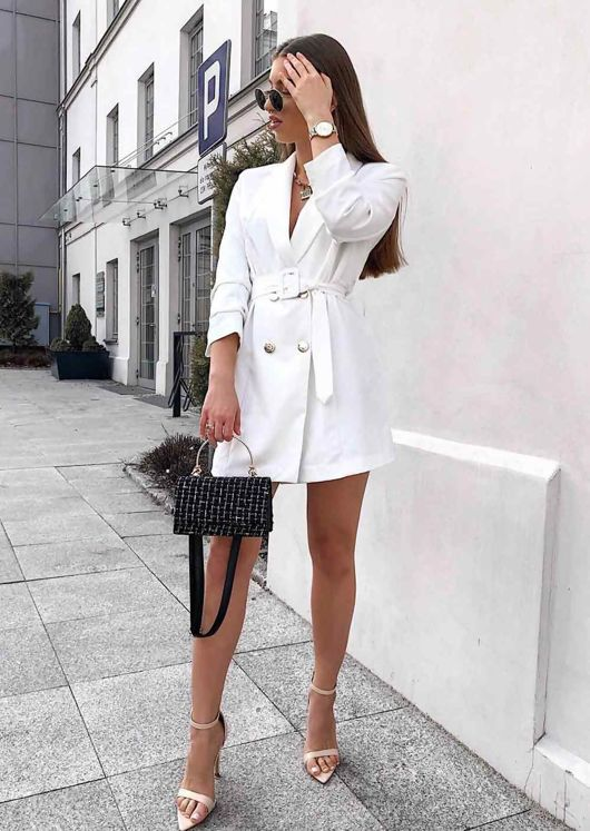 5d091e8eb62d Double Breasted Belted Mini Blazer Dress White | Lily Lulu