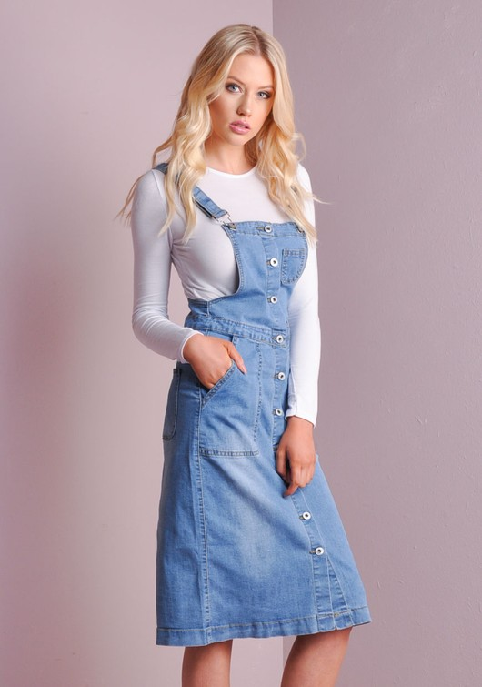 Dungaree Denim Midi Dress