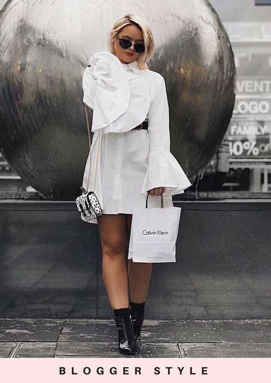 Flute Sleeve Mini Shirt Dress White