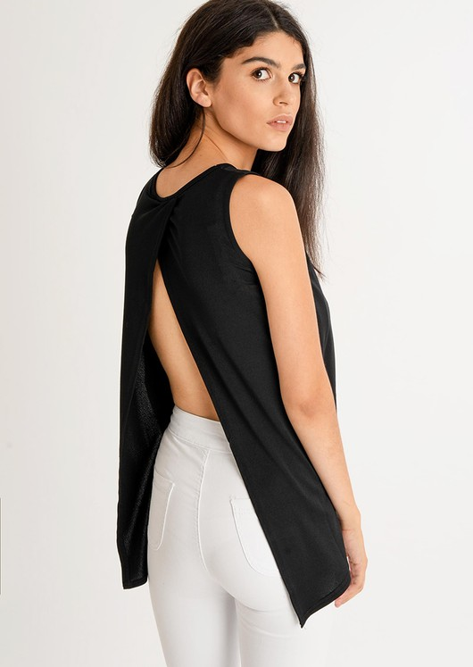 Enya Basic Open Back Top Black