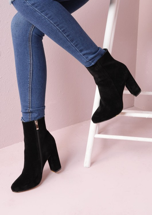 e5171cfc67c Faux Suede Chunky Heel Ankle Sock Boots Black Drune (5 of 4).jpg