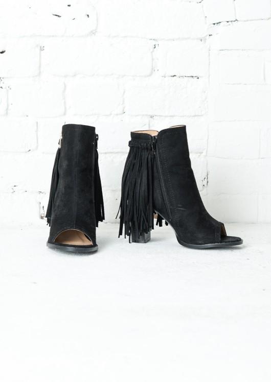 Faux Suede Peep Toe Tassel Ankle Boots