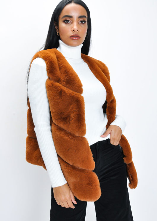 Faux Fur Panel Gilet Brown