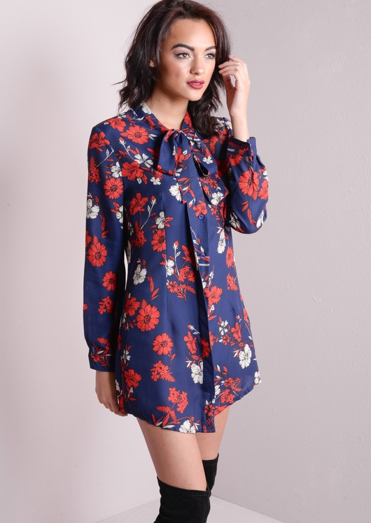 Floral Print Pussy Bow Shirt Dress Blue