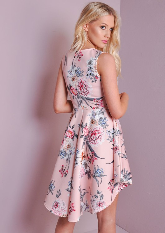 Floral Print Skater Shift Dress Pink