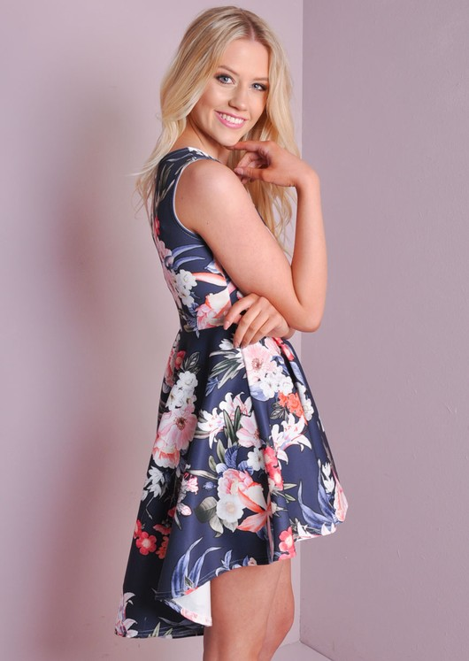 Floral Print Skater Shift Dress Navy