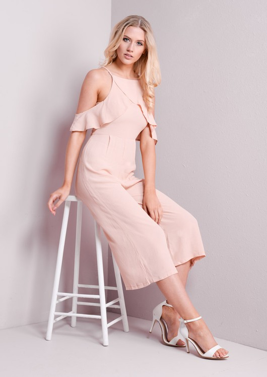 Frill Detail Cold Shoulder Culotte Jumpsuit Nude