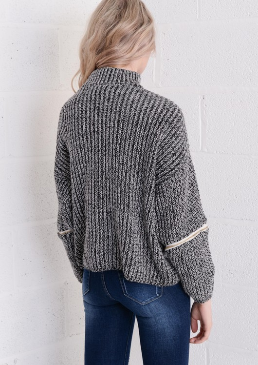 Funnel Neck Variegated Zip Jumper Grey