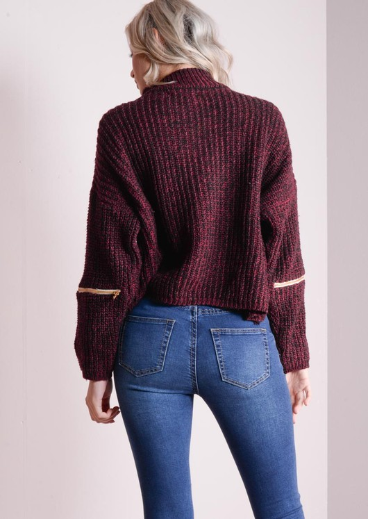 Funnel Neck Variegated Zip Jumper Red