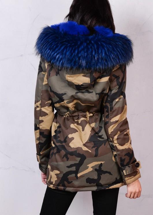 Blue Faux Fur Hooded Full Fleece Parka Coat Khaki Green