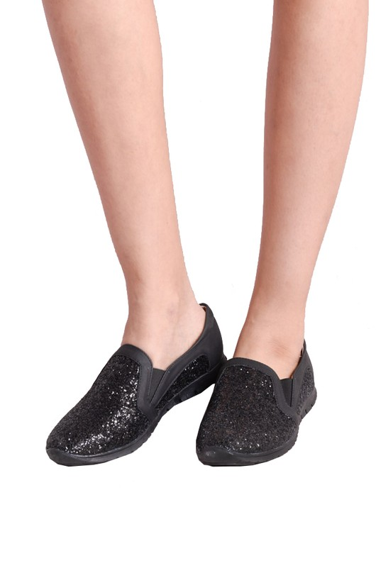 Glittery Slip on Plimsolls Black