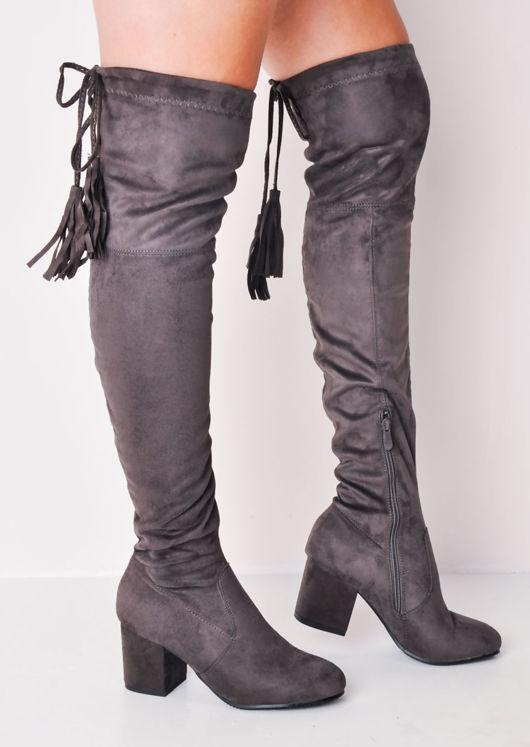 Tassel Long Over the Knee Block Heel Suede Boots Charcoal Grey