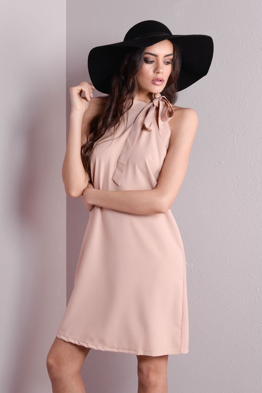 Halter Tie Neck Swing Dress Nude
