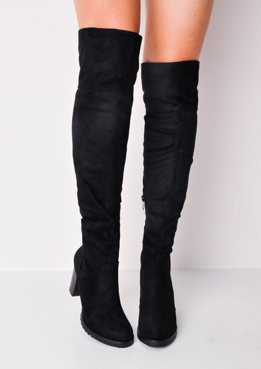 Long Over the Knee Block Heel Suede Boots Black