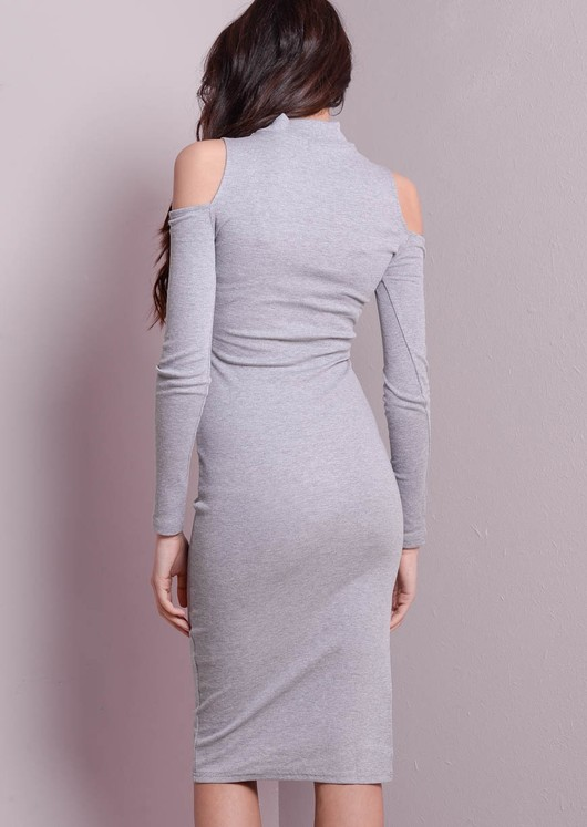 High Neck Cold Shoulder Midi Dress Grey