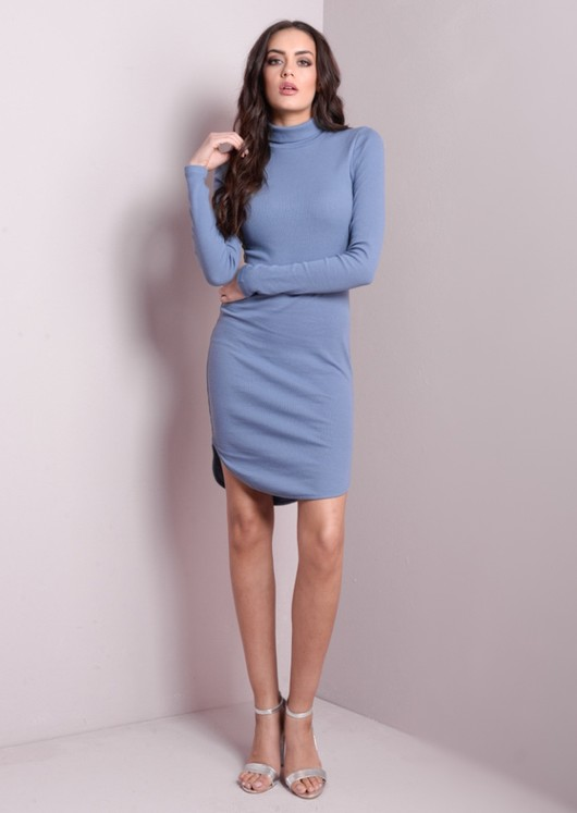 High Neck Ribbed Bodycon Dress Blue