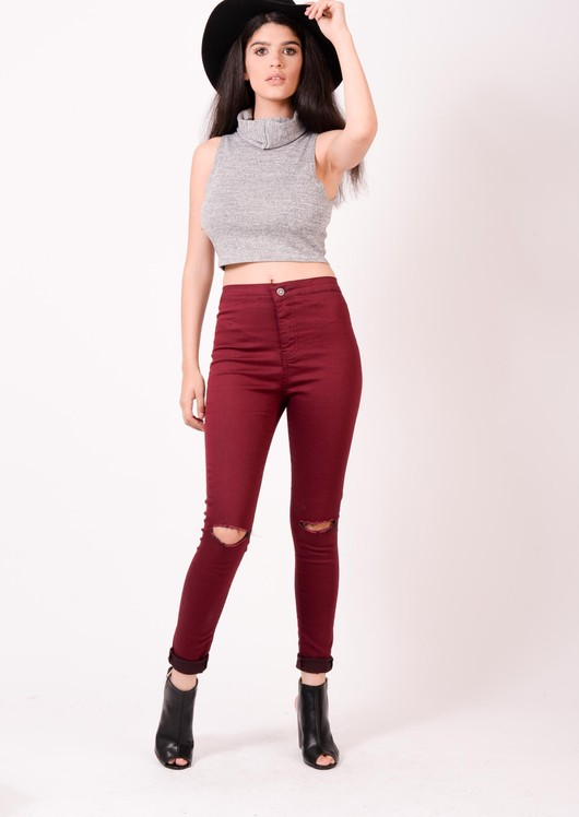 High Waisted Knee Ripped Super Skinny Jeans Burgandy