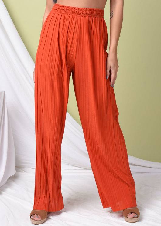 High Waisted Pleated Wide Leg Trousers Orange