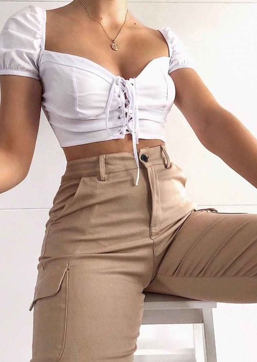 High Waisted Utility Cargo Fitted Joggers Trousers Beige