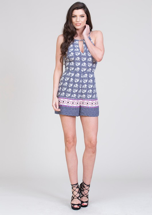 Liv Elephant Print Playsuit Blue