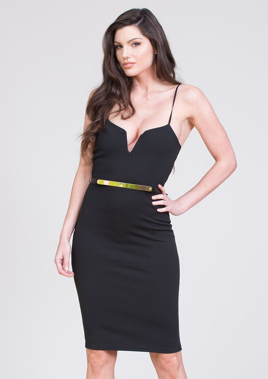 Tessie Bodycon & Belt Dress Black