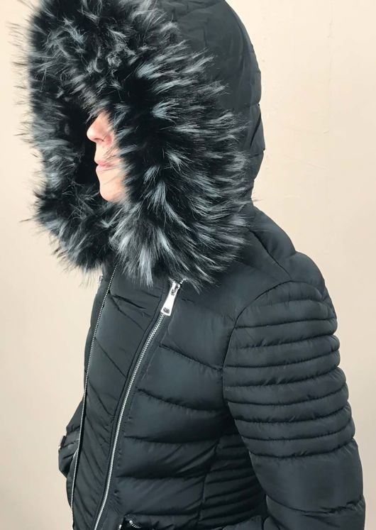 Faux Fur Hooded Quilted Puffer Jacket Black