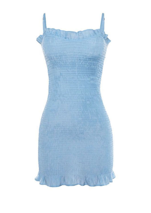 Strappy Shirred Frill Hem Mini Dress Blue