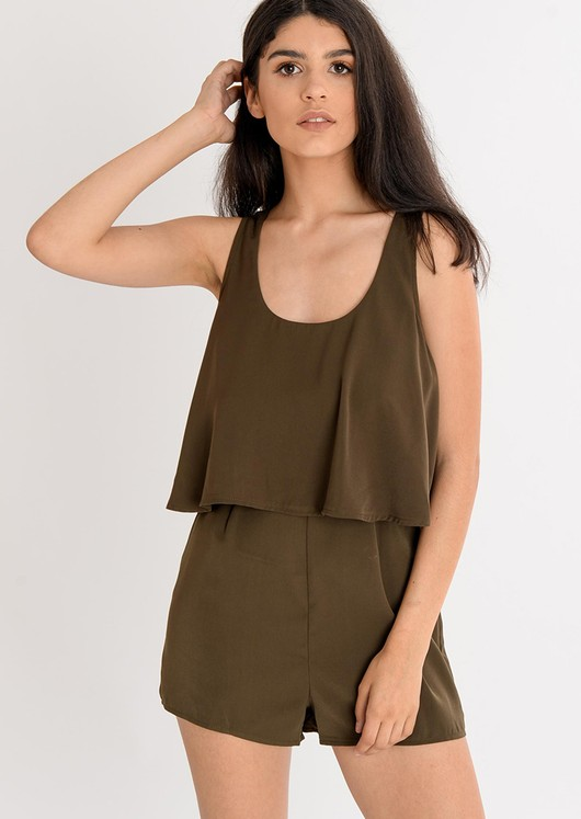Iris Layered Open Back Khaki Playsuit