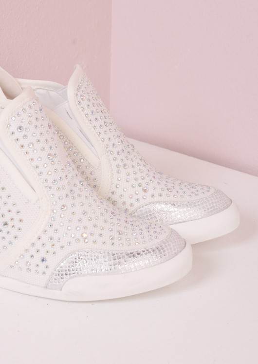 Jewel Studded Reptile Wedge Trainers White