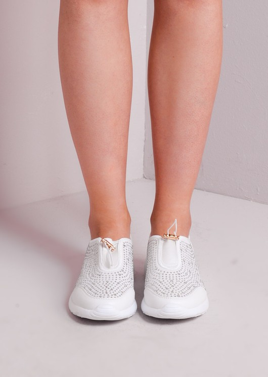 Jewel Studded Toggle Trainers White