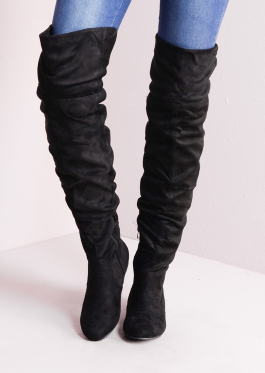 65439ad015a Over The Knee Flat Long Boots Suede Black