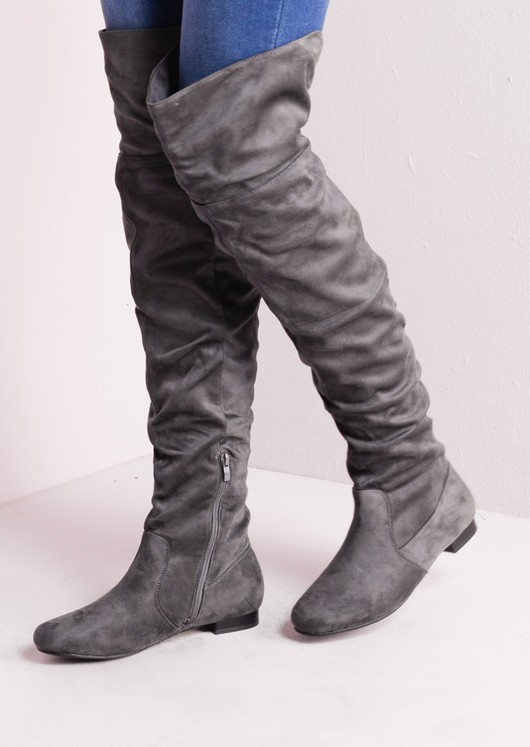 7526a5b42bb Over The Knee Flat Long Boots Suede Grey