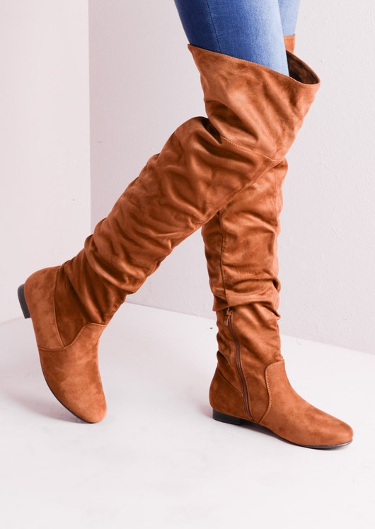 Over The Knee Flat Long Boots Suede Tan d071ed4ecb4b