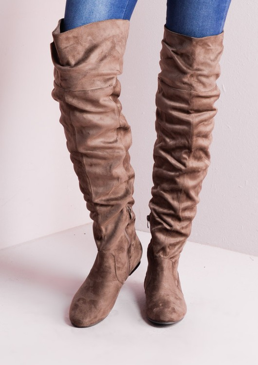 Over The Knee Flat Long Boots Suede Taupe