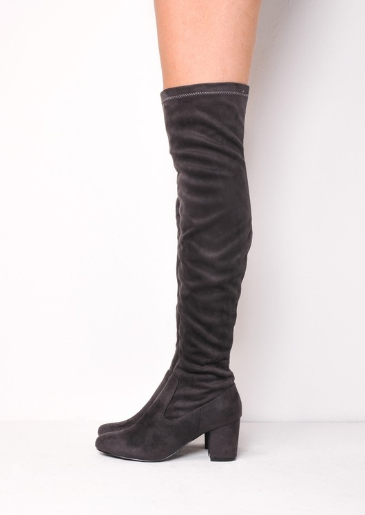 Knee High Mid Block Heel Faux Suede Boots Grey