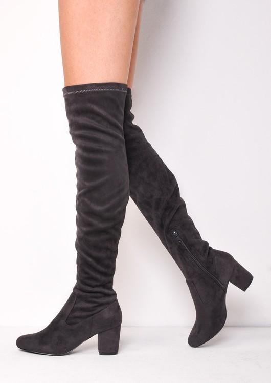 694d26fd0f4 Knee High Mid Block Heel Faux Suede Boots Grey cindy.jpg