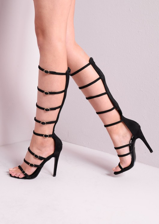 Knee High Strap Buckled Suede Heeled Gladiator Sandals Black