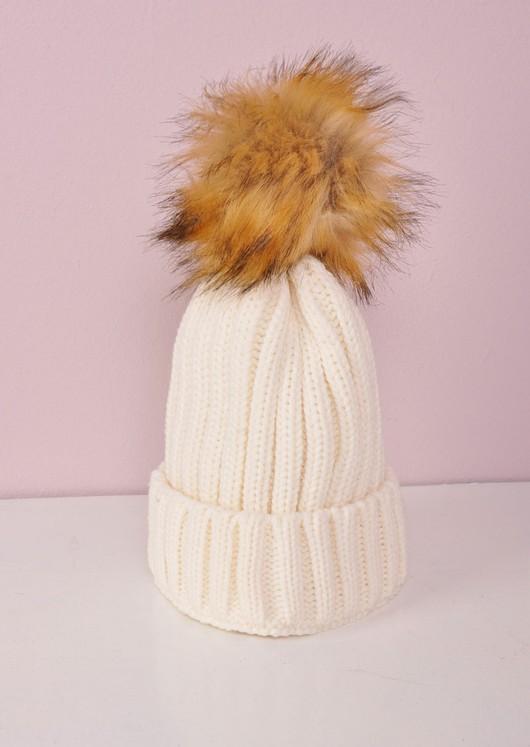 82abc8b4e88 Detachable Faux Fur Pom Pom Knitted Hat Cream