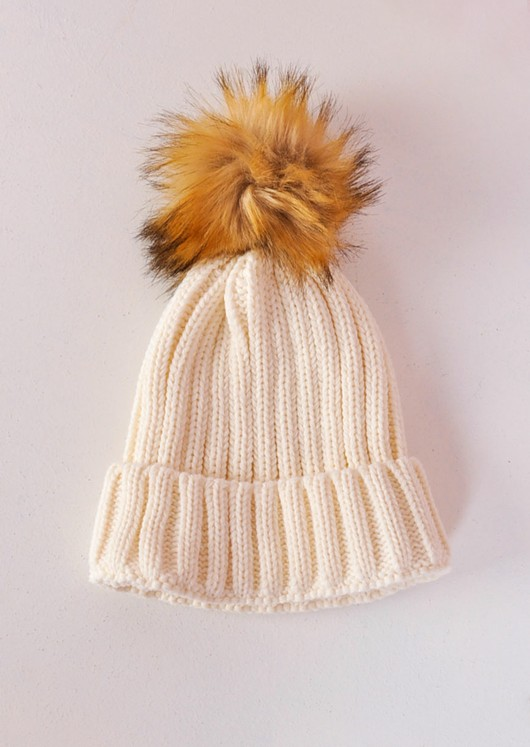 fca71161c38 Detachable Faux Fur Pom Pom Knitted Hat Cream