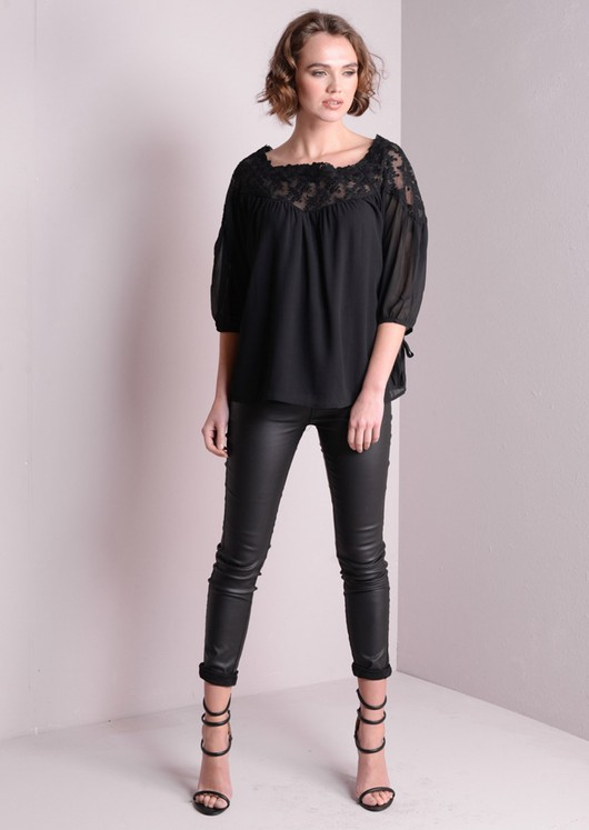 Lace Insert Off shoulder Top Blouse With Tie Detail 3/4 Sleeve Black