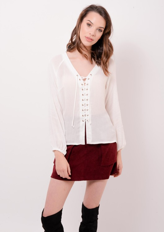 Lace Up Boho Top White Lorenna | Lily Lulu Fashion