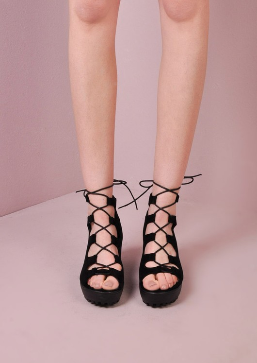 Lace Up Cleated Platform Shoes Black