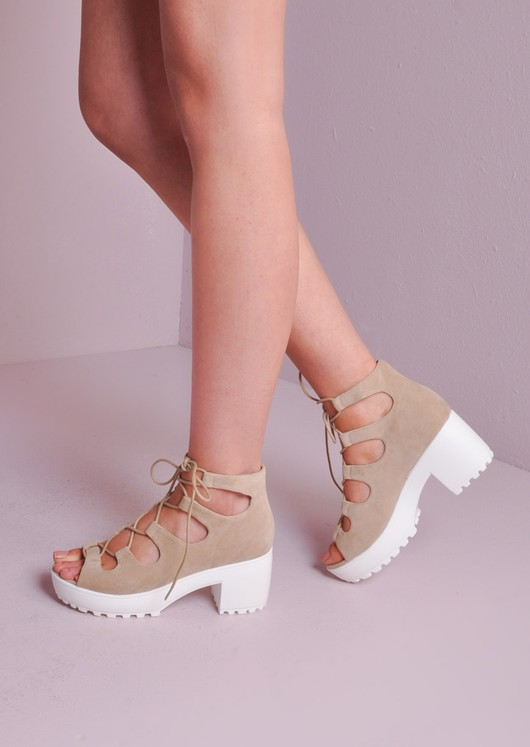bd3918e26c Lace Up Cleated Platform Shoes Nude