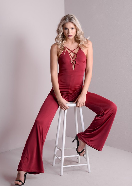 Lace Up Exposed Back Flared Leg Jumpsuit Purple