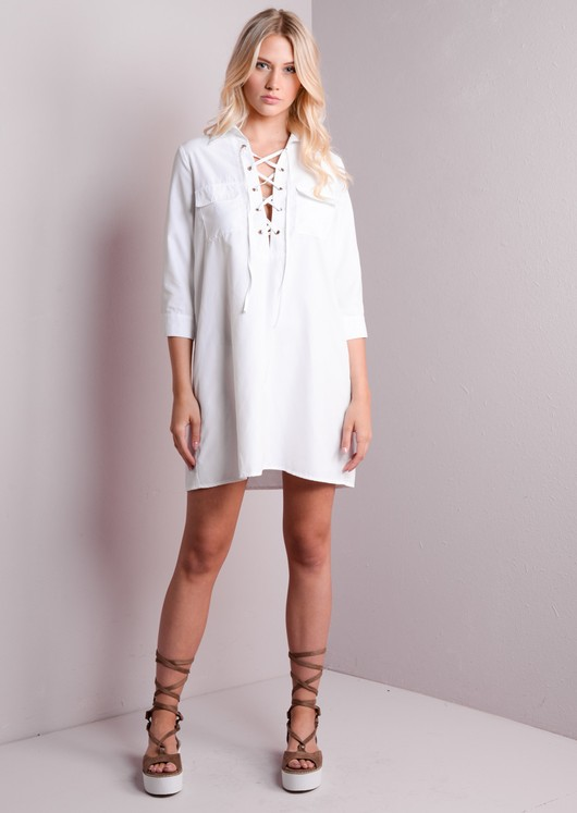 Lace Up Front Shirt Dress White