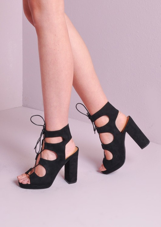a1cac616faf3 Lace Up Gladiator Block Heel Shoes Black
