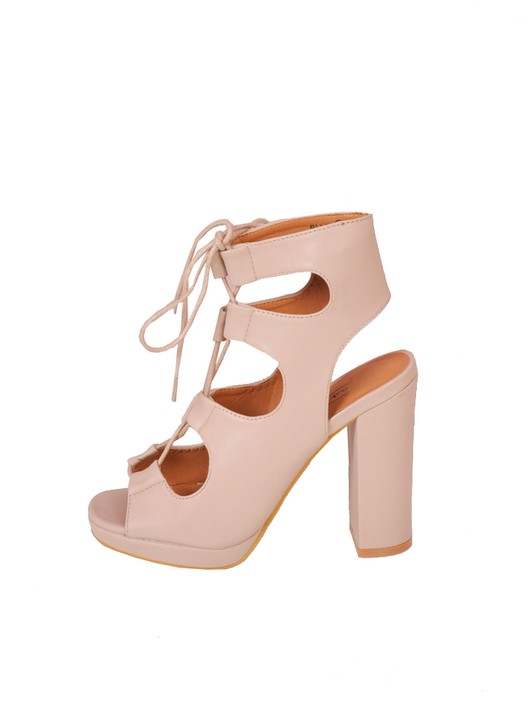 Lace Up Gladiator Block Heel Shoes Nude