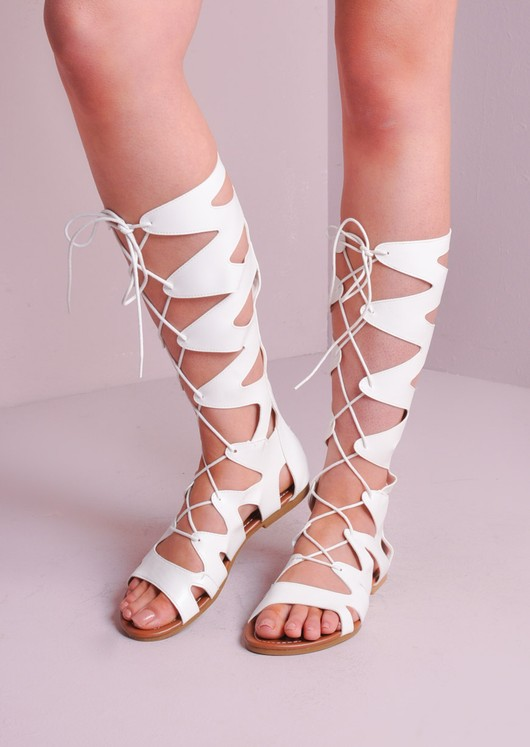 01720957e990 Lace Up Gladiator Sandals White
