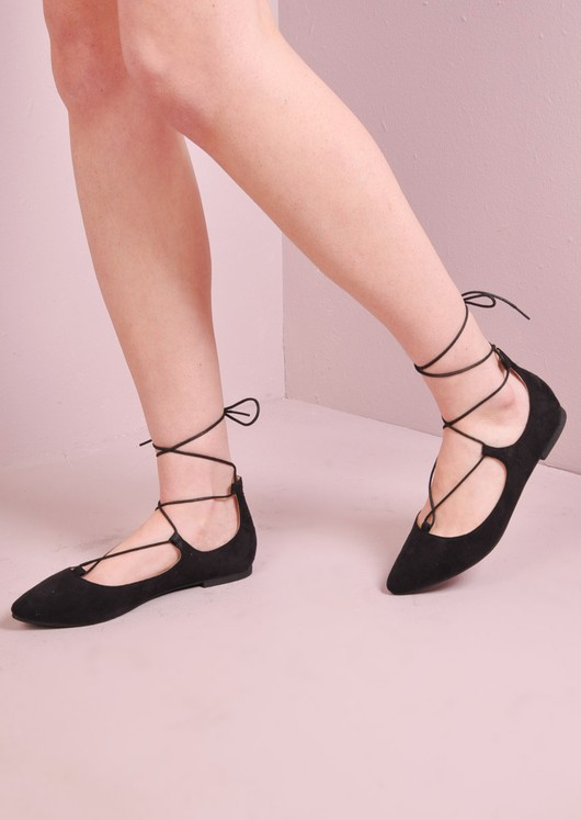 Lace Up Pointed Ballet Flats Black